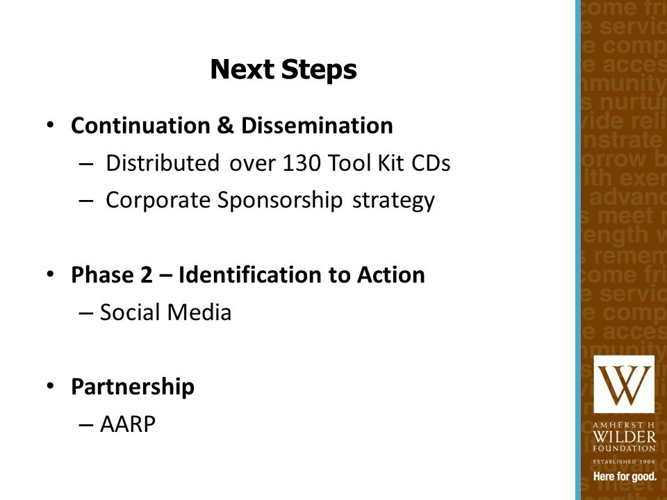 Continuation & Dissemination – Distributed over 130 Tool Kit CDs – Corporate Sponsorship strategy Phase 2 – Identification to Action – Social Media Partnership – AARP Next Steps