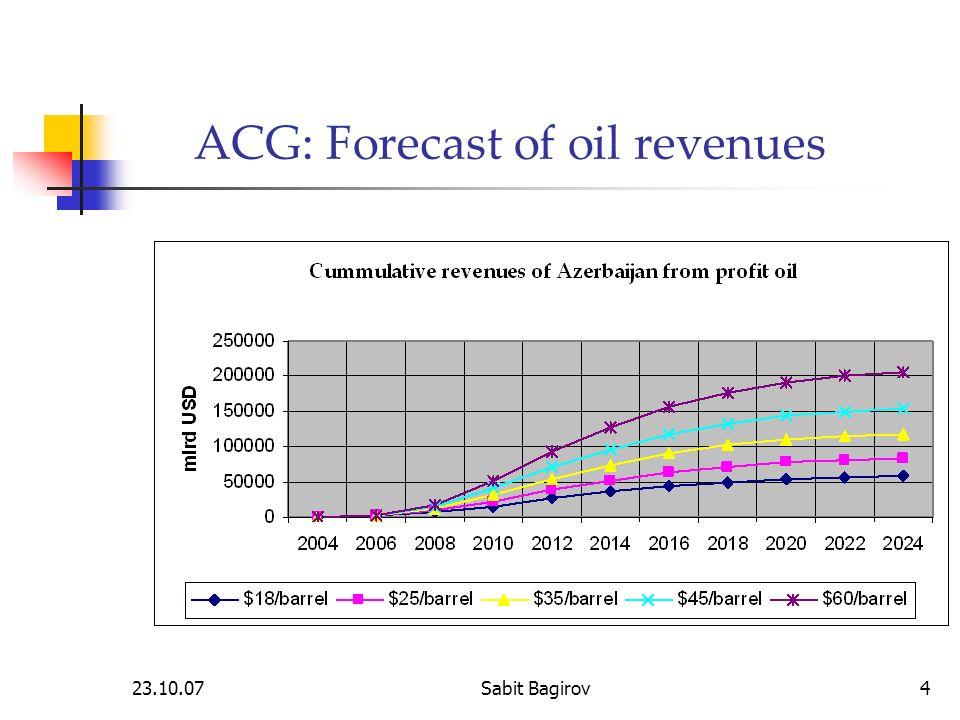 23.10.07Sabit Bagirov4 ACG: Forecast of oil revenues