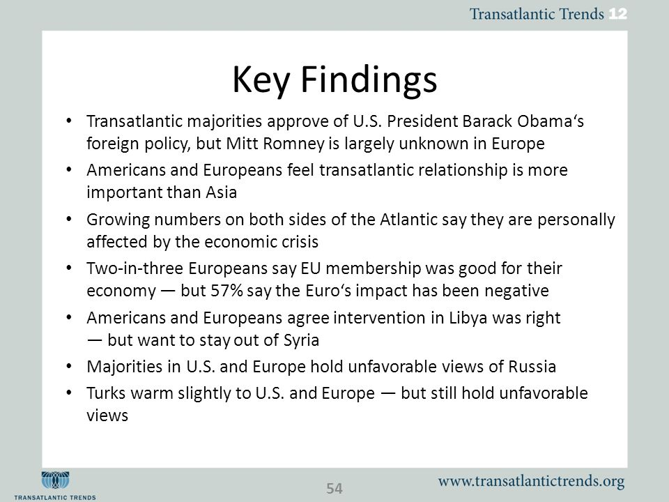 Key Findings Transatlantic majorities approve of U.S. President Barack Obamas foreign policy, but Mitt Romney is largely unknown in Europe Americans a