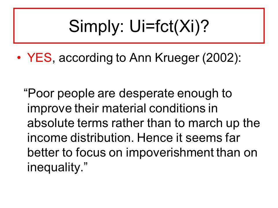 Simply: Ui=fct(Xi).