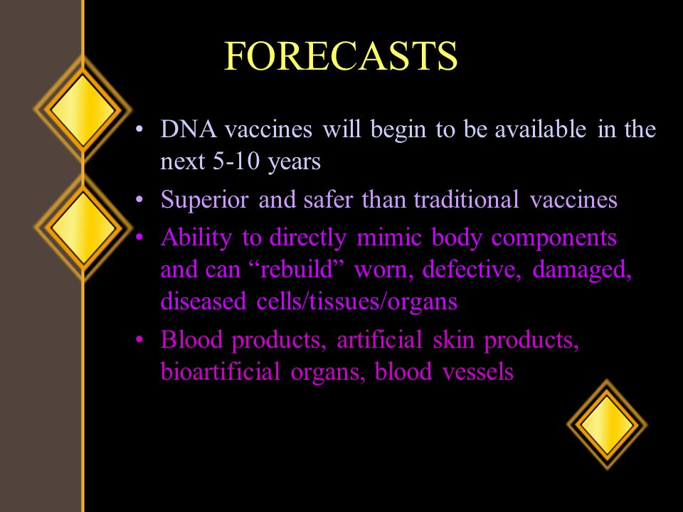 FORECASTS DNA vaccines will begin to be available in the next 5-10 years Superior and safer than traditional vaccines Ability to directly mimic body c