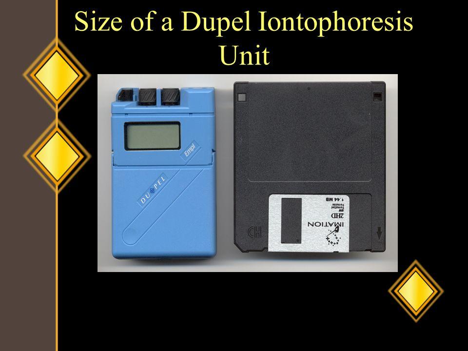 Size of a Dupel Iontophoresis Unit