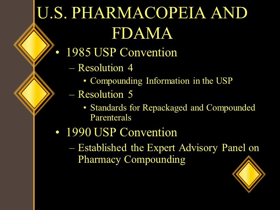 U.S. PHARMACOPEIA AND FDAMA 1985 USP Convention –Resolution 4 Compounding Information in the USP –Resolution 5 Standards for Repackaged and Compounded