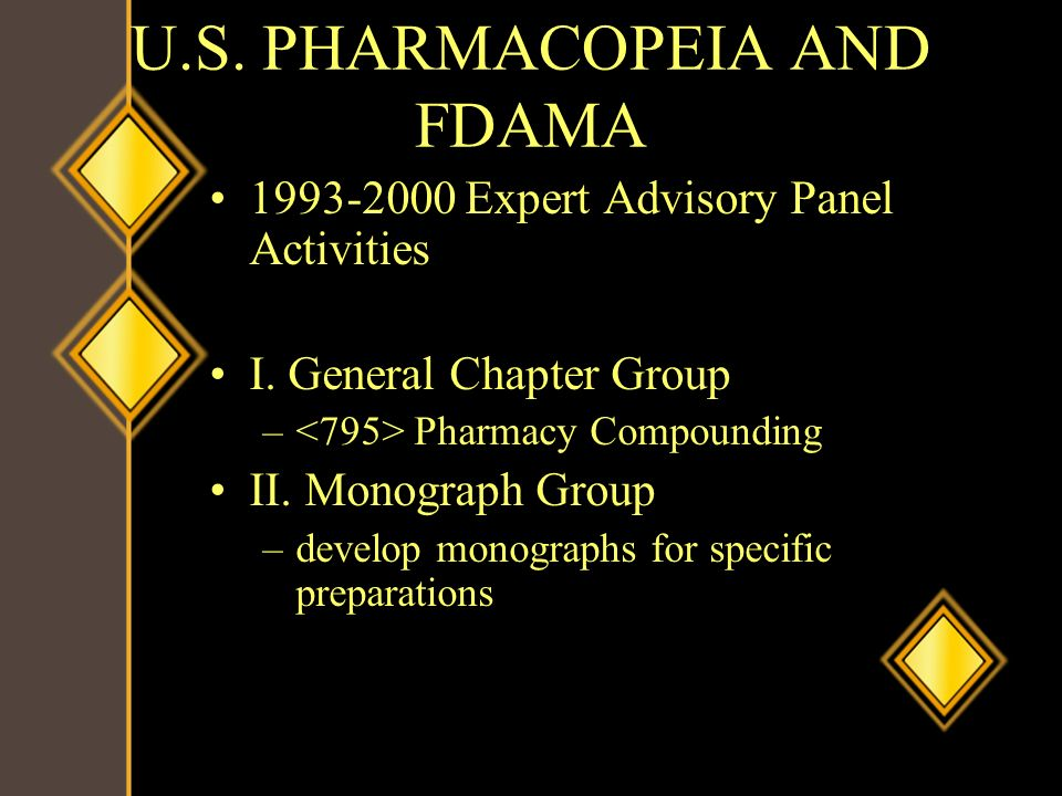 U.S. PHARMACOPEIA AND FDAMA 1993-2000 Expert Advisory Panel Activities I. General Chapter Group – Pharmacy Compounding II. Monograph Group –develop mo