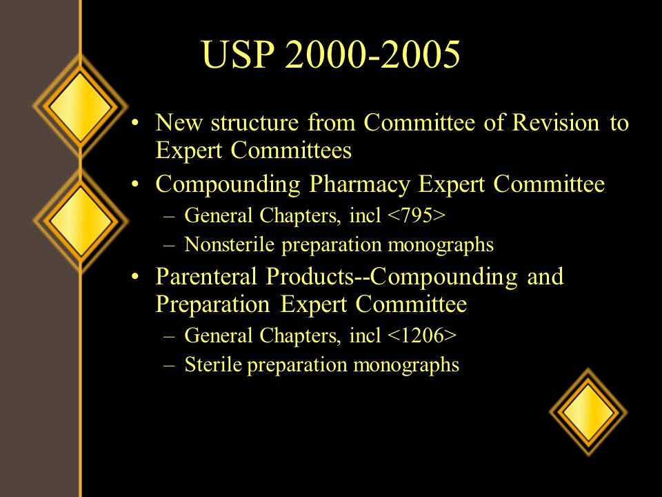 USP 2000-2005 New structure from Committee of Revision to Expert Committees Compounding Pharmacy Expert Committee –General Chapters, incl –Nonsterile