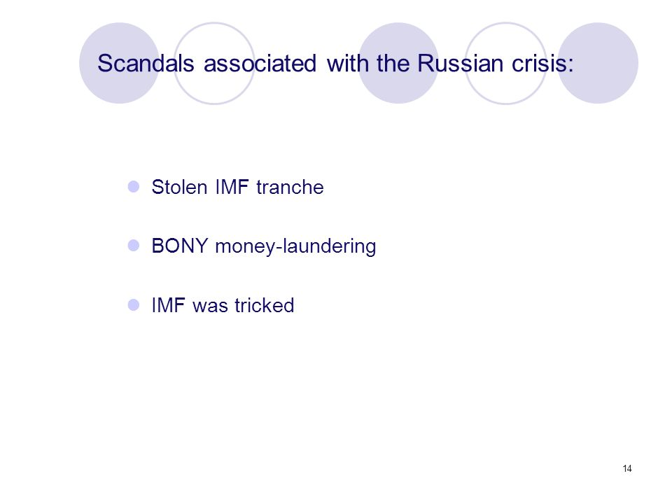 14 Stolen IMF tranche BONY money-laundering IMF was tricked Scandals associated with the Russian crisis: