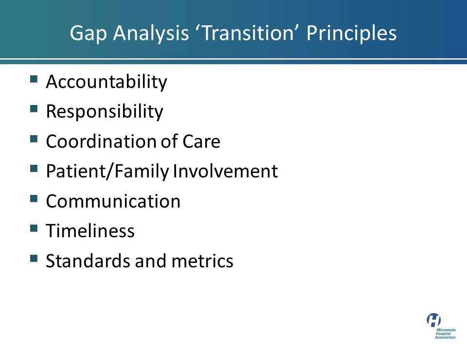Gap Analysis Transition Principles Accountability Responsibility Coordination of Care Patient/Family Involvement Communication Timeliness Standards and metrics