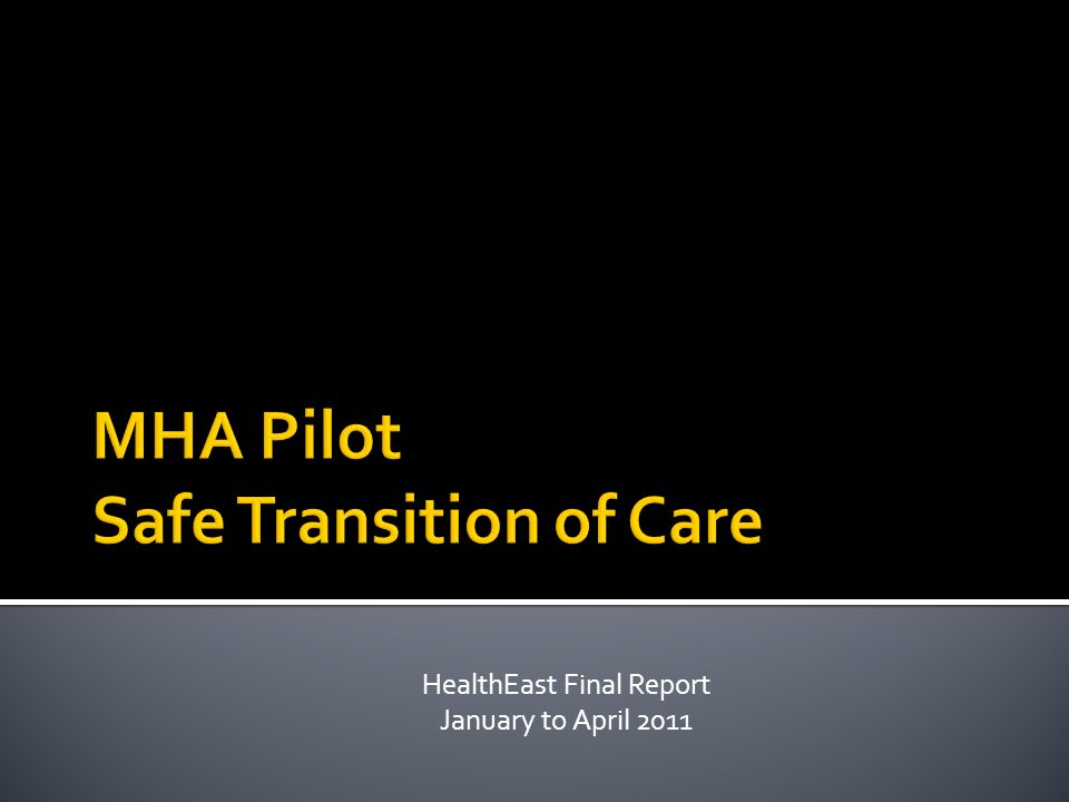 HealthEast Final Report January to April 2011