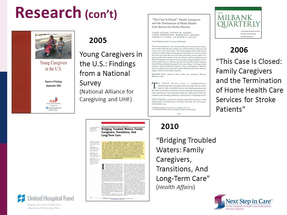 2005 Young Caregivers in the U.S.: Findings from a National Survey (National Alliance for Caregiving and UHF) 2006 This Case Is Closed: Family Caregivers and the Termination of Home Health Care Services for Stroke Patients Bridging Troubled Waters: Family Caregivers, Transitions, And Long-Term Care (Health Affairs) 2010 Research (cont)