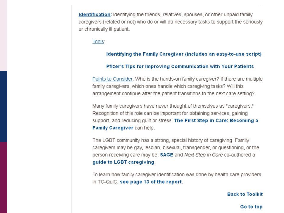 Operationalizing family caregiver engagement