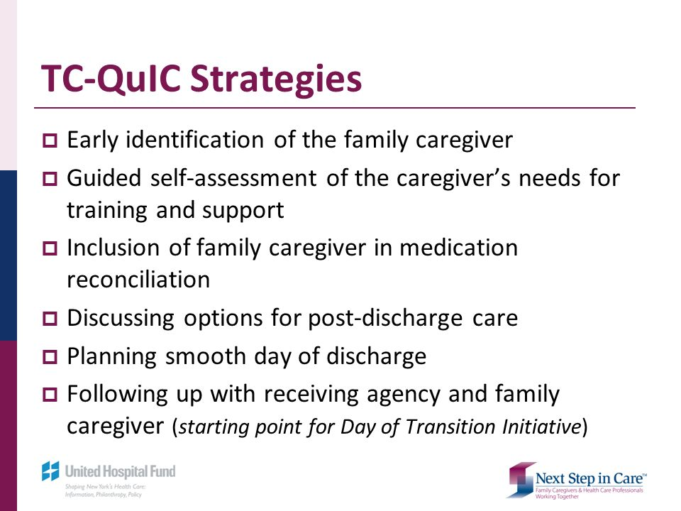 TC-QuIC Strategies Early identification of the family caregiver Guided self-assessment of the caregivers needs for training and support Inclusion of family caregiver in medication reconciliation Discussing options for post-discharge care Planning smooth day of discharge Following up with receiving agency and family caregiver (starting point for Day of Transition Initiative)