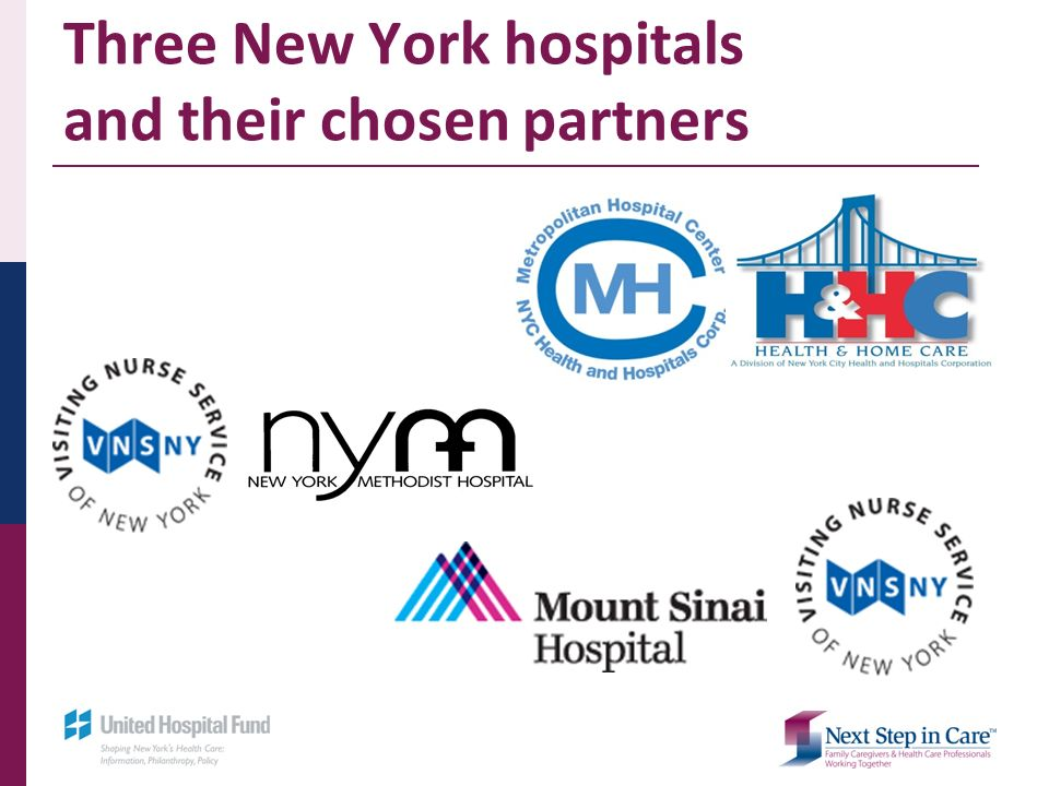 Three New York hospitals and their chosen partners