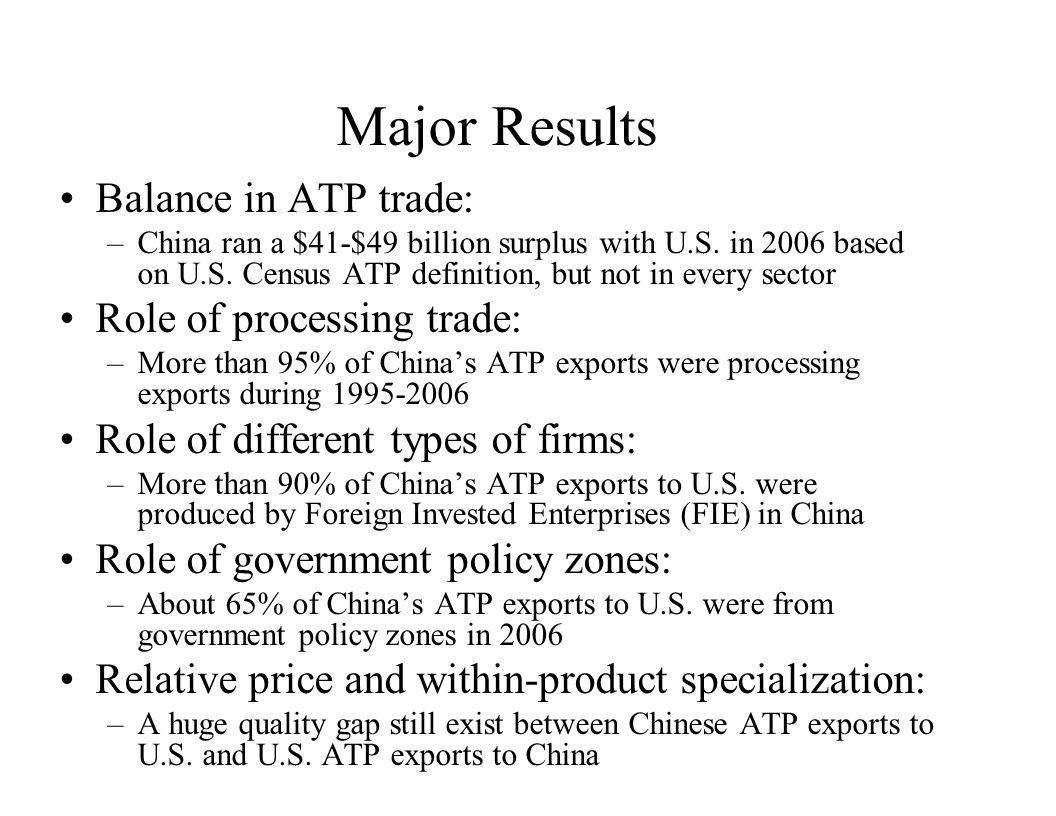 Unit Value: Example 1 Exports to the World Color video monitor (HS 852821), 2005 –Unit value of G-3 exports = $467.4 –Unit values in Chinas exports Wholly foreign owned firms = $241.5 –Export Processing Zones = $347.8 –Processing/High-tech zones =$456.7 –Processing/outside any zones = $ 56.8 –Normal trade/high-tech zones =$364.8 –Normal trade/outside any zones =$ 73.6 State-owned firms = $ 207.0 Joint ventures =$ 126.3 Private firms =$ 77.2