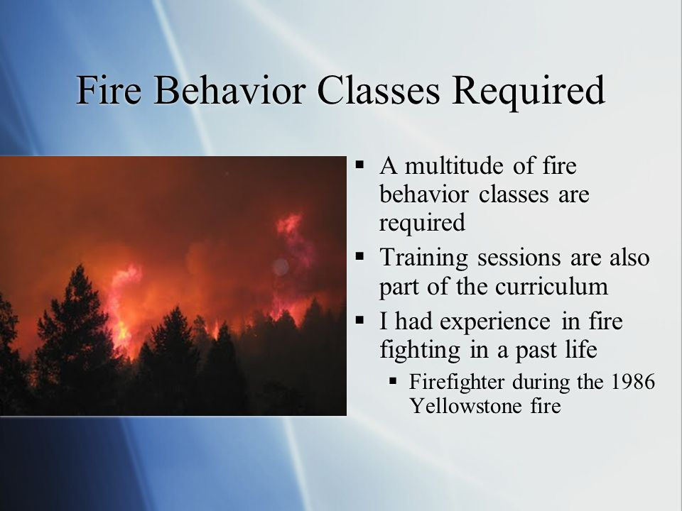 Fire Behavior Classes Required A multitude of fire behavior classes are required Training sessions are also part of the curriculum I had experience in