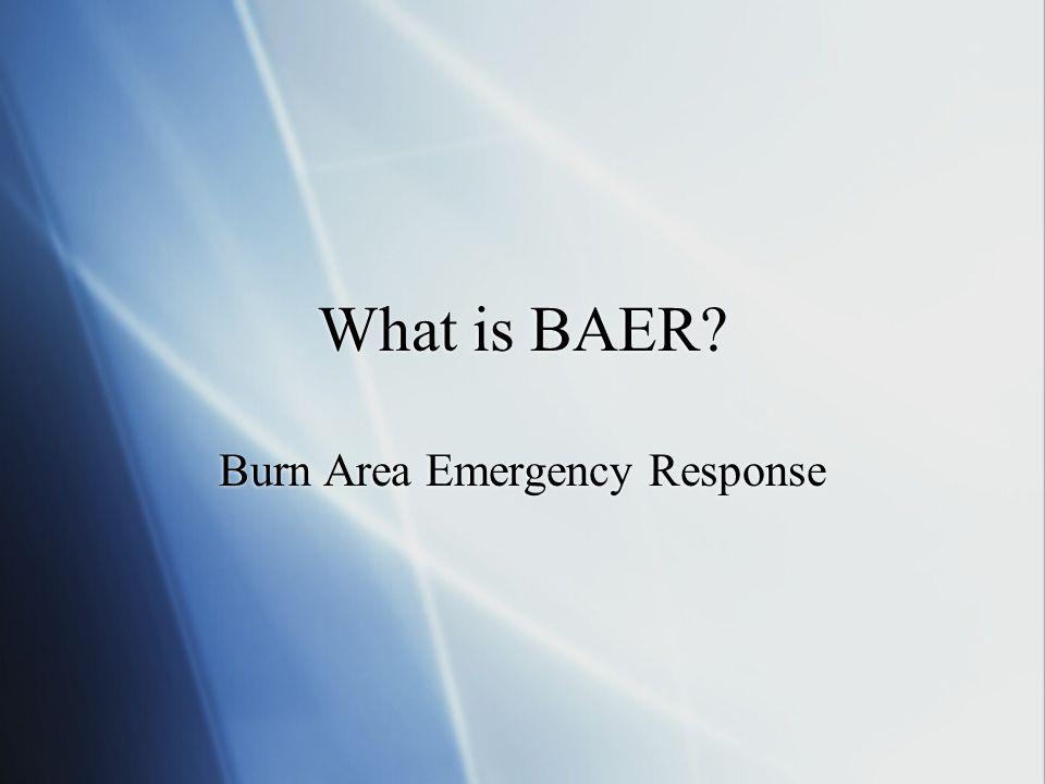 What is BAER? Burn Area Emergency Response