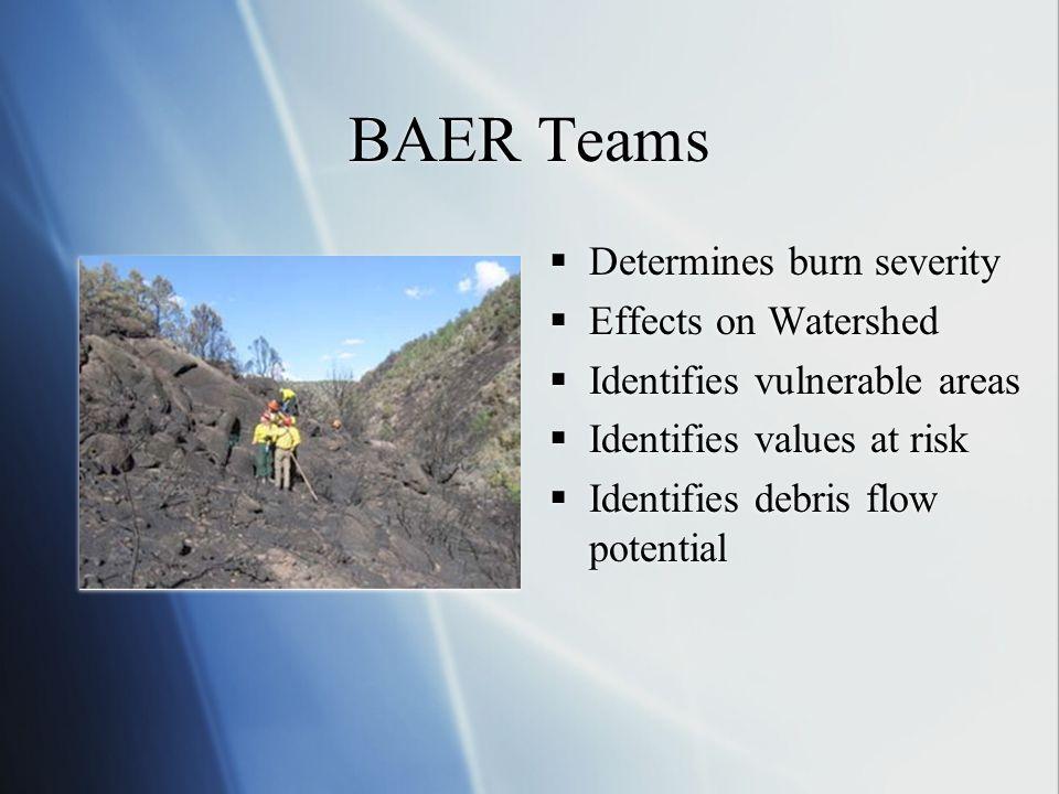 BAER Teams Determines burn severity Effects on Watershed Identifies vulnerable areas Identifies values at risk Identifies debris flow potential