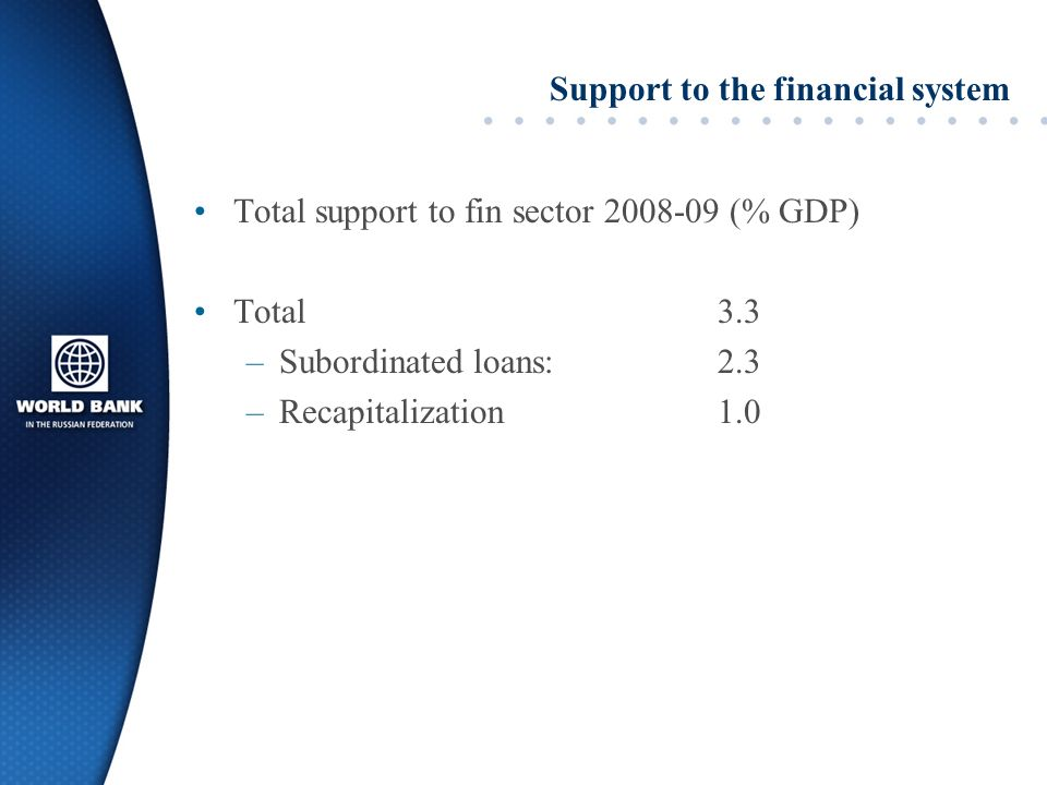 Support to the financial system Total support to fin sector 2008-09 (% GDP) Total 3.3 –Subordinated loans:2.3 –Recapitalization1.0
