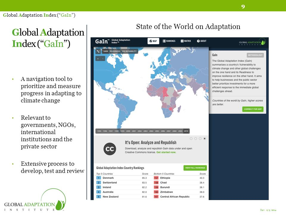 Global Adaptation Index (GaIn) A navigation tool to prioritize and measure progress in adapting to climate change Relevant to governments, NGOs, international institutions and the private sector Extensive process to develop, test and review Global Adaptation Index (GaIn) State of the World on Adaptation 9 Rev.