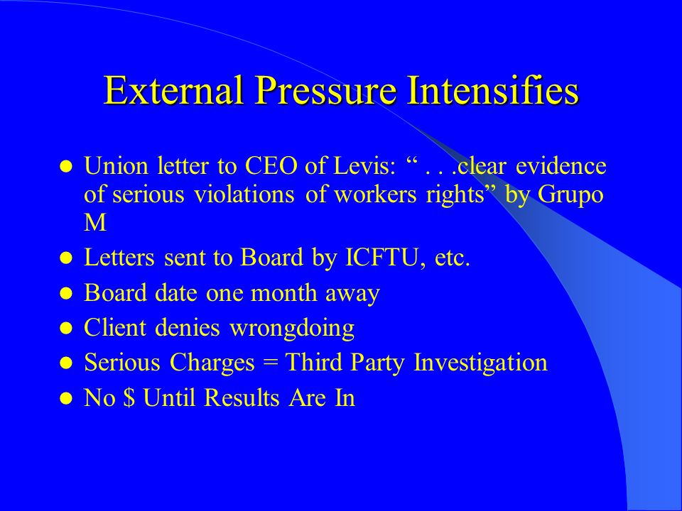 External Pressure Intensifies Union letter to CEO of Levis:...clear evidence of serious violations of workers rights by Grupo M Letters sent to Board by ICFTU, etc.