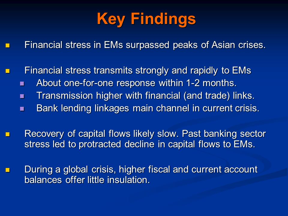 Key Findings Financial stress in EMs surpassed peaks of Asian crises.