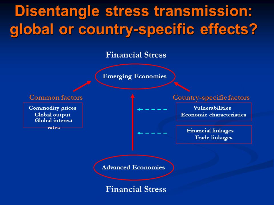 Disentangle stress transmission: global or country-specific effects.
