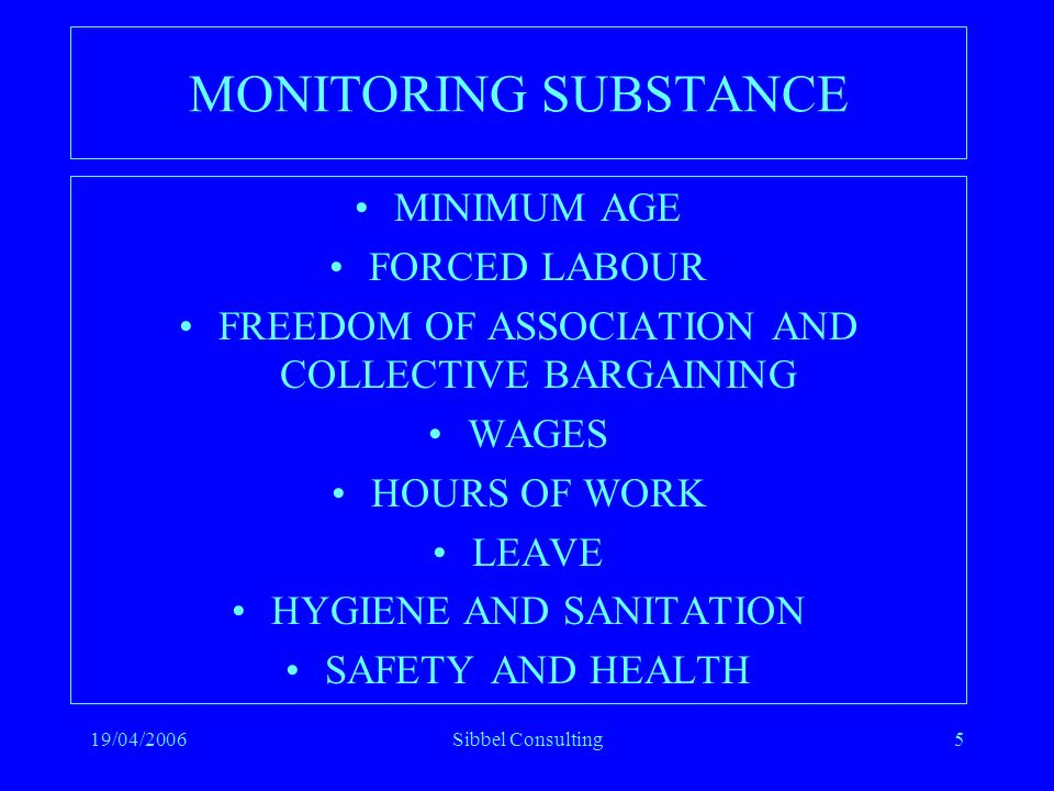 19/04/2006Sibbel Consulting5 MONITORING SUBSTANCE MINIMUM AGE FORCED LABOUR FREEDOM OF ASSOCIATION AND COLLECTIVE BARGAINING WAGES HOURS OF WORK LEAVE HYGIENE AND SANITATION SAFETY AND HEALTH