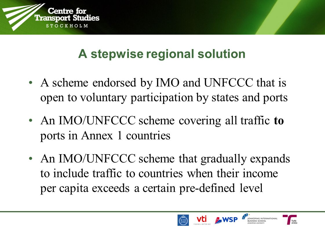 A stepwise regional solution A scheme endorsed by IMO and UNFCCC that is open to voluntary participation by states and ports An IMO/UNFCCC scheme cove