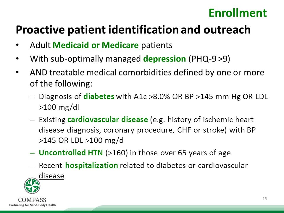 Enrollment Proactive patient identification and outreach Adult Medicaid or Medicare patients With sub-optimally managed depression (PHQ-9 >9) AND treatable medical comorbidities defined by one or more of the following: – Diagnosis of diabetes with A1c >8.0% OR BP >145 mm Hg OR LDL >100 mg/dl – Existing cardiovascular disease (e.g.