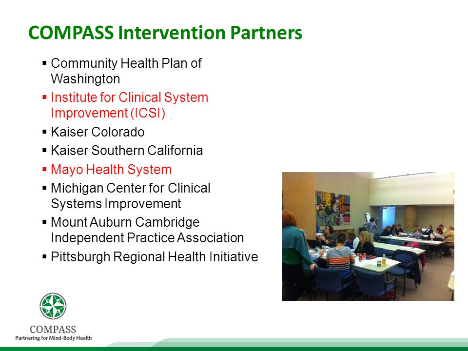 COMPASS Intervention Partners Community Health Plan of Washington Institute for Clinical System Improvement (ICSI) Kaiser Colorado Kaiser Southern California Mayo Health System Michigan Center for Clinical Systems Improvement Mount Auburn Cambridge Independent Practice Association Pittsburgh Regional Health Initiative
