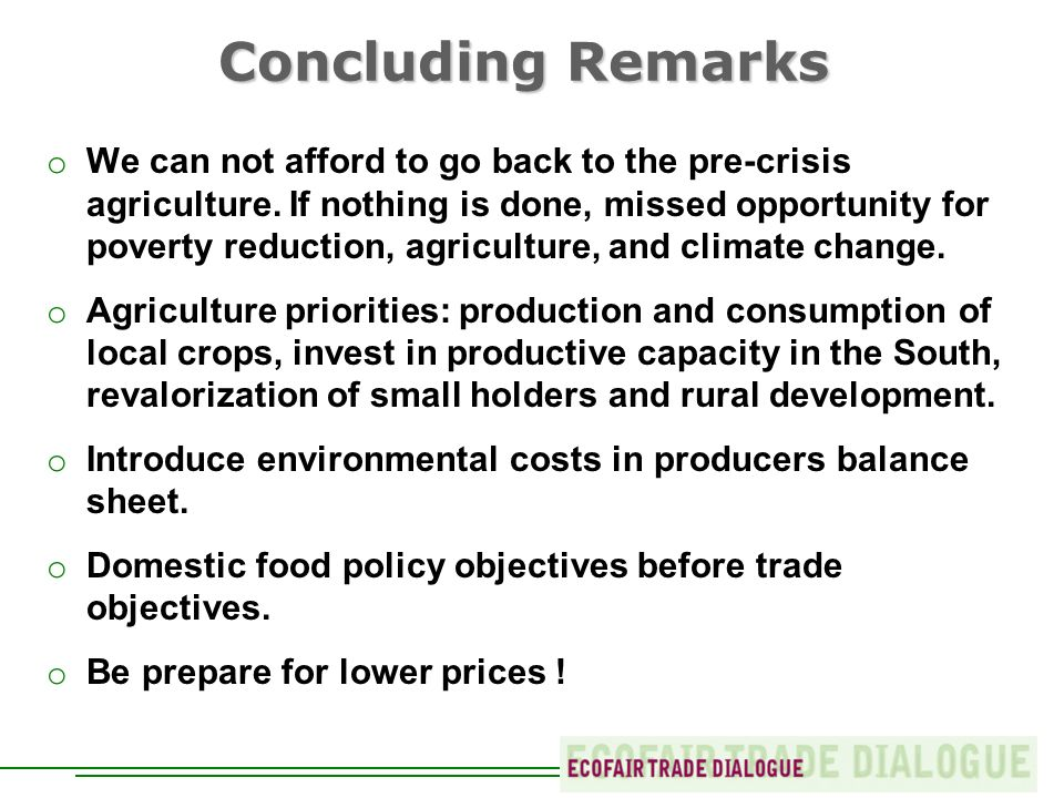 Concluding Remarks o We can not afford to go back to the pre-crisis agriculture.