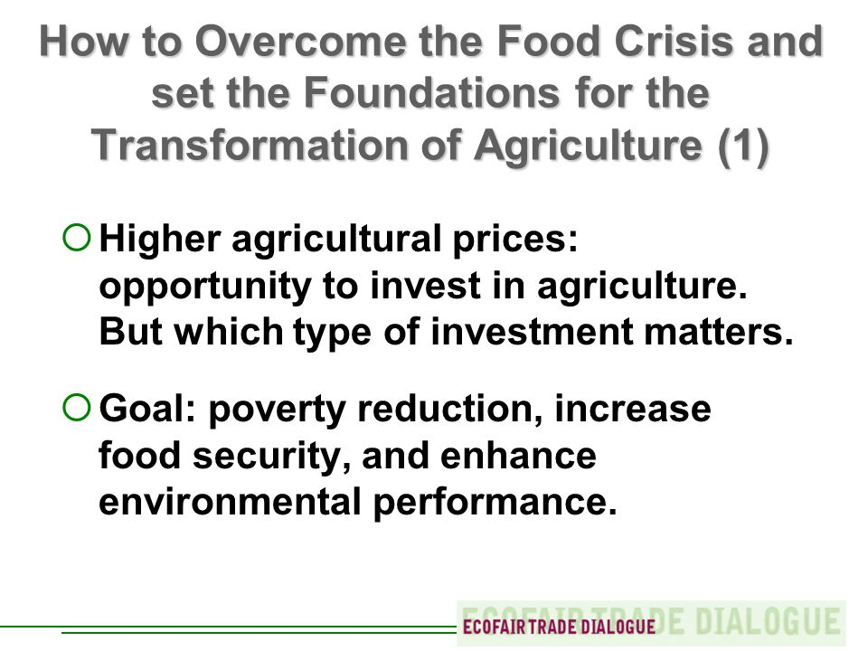 How to Overcome the Food Crisis and set the Foundations for the Transformation of Agriculture (1) Higher agricultural prices: opportunity to invest in agriculture.