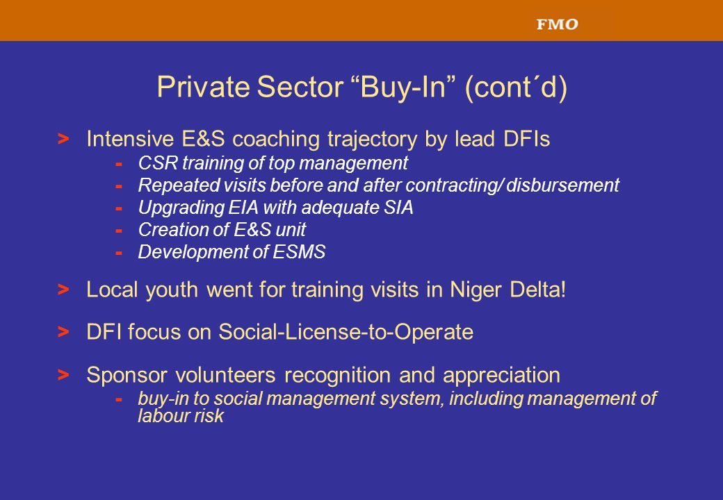 Private Sector Buy-In (cont´d) > Intensive E&S coaching trajectory by lead DFIs - CSR training of top management - Repeated visits before and after co