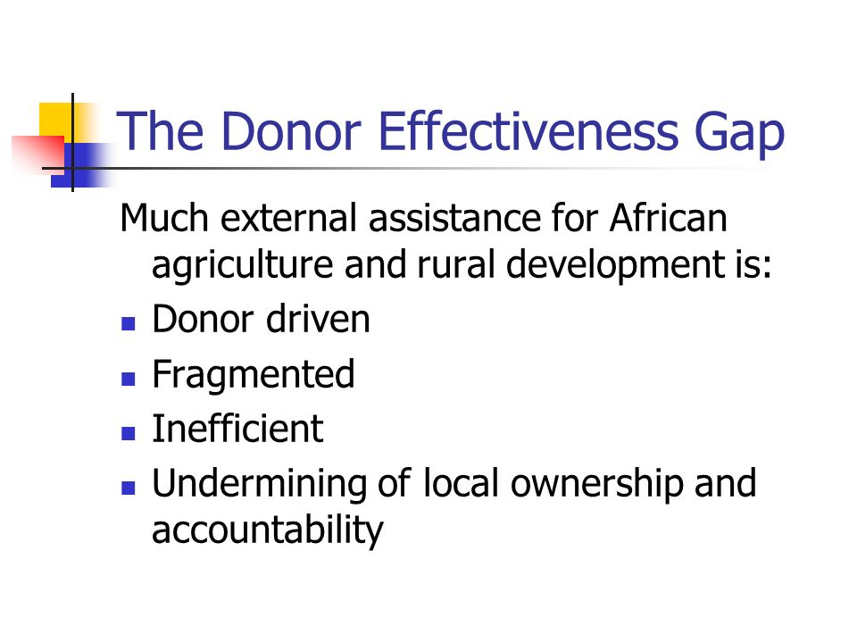 The Donor Effectiveness Gap Much external assistance for African agriculture and rural development is: Donor driven Fragmented Inefficient Undermining of local ownership and accountability