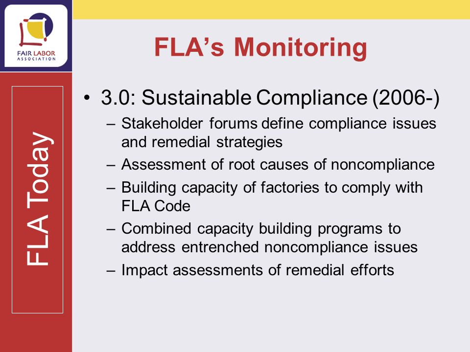 FLA Special Projects Projects seek to build capacity and address systemic noncompliances at their root.