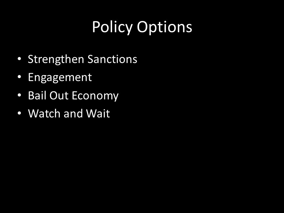 Policy Options Strengthen Sanctions Engagement Bail Out Economy Watch and Wait
