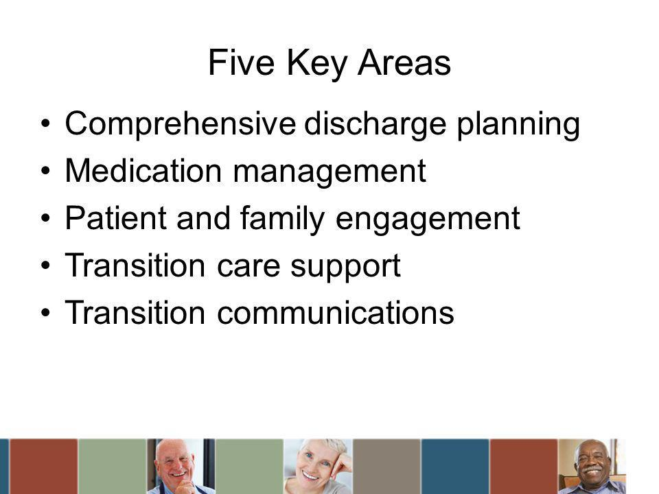 Five Key Areas Comprehensive discharge planning Medication management Patient and family engagement Transition care support Transition communications
