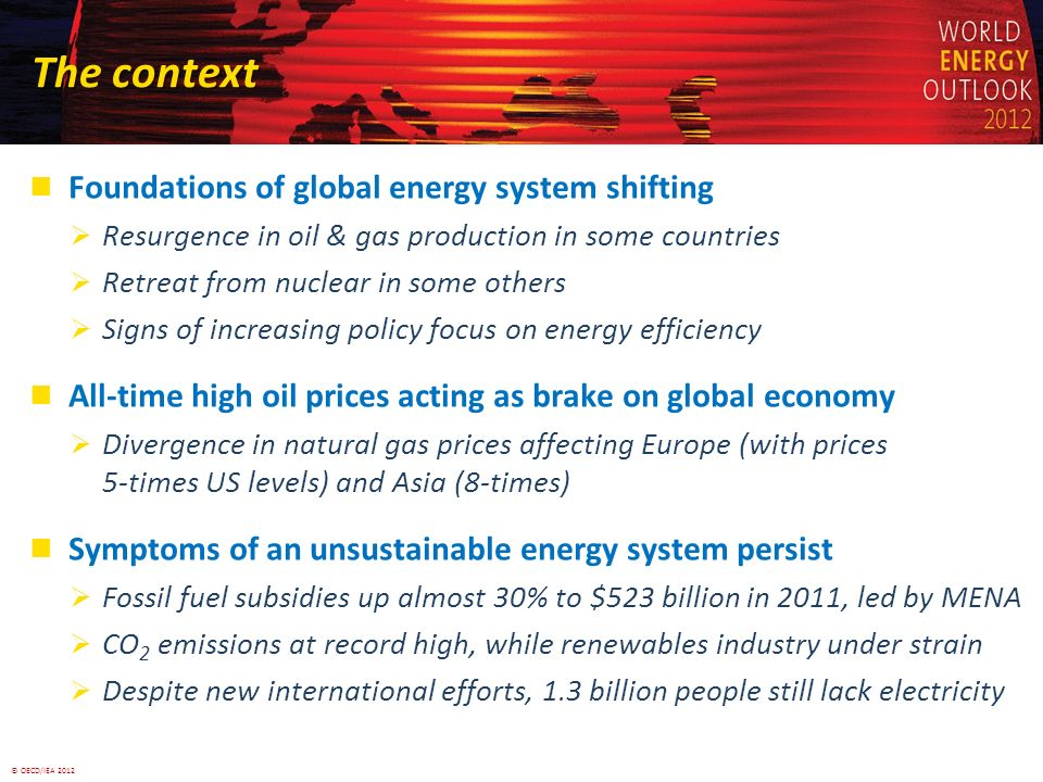 © OECD/IEA 2012 The context Foundations of global energy system shifting Resurgence in oil & gas production in some countries Retreat from nuclear in some others Signs of increasing policy focus on energy efficiency All-time high oil prices acting as brake on global economy Divergence in natural gas prices affecting Europe (with prices 5-times US levels) and Asia (8-times) Symptoms of an unsustainable energy system persist Fossil fuel subsidies up almost 30% to $523 billion in 2011, led by MENA CO 2 emissions at record high, while renewables industry under strain Despite new international efforts, 1.3 billion people still lack electricity