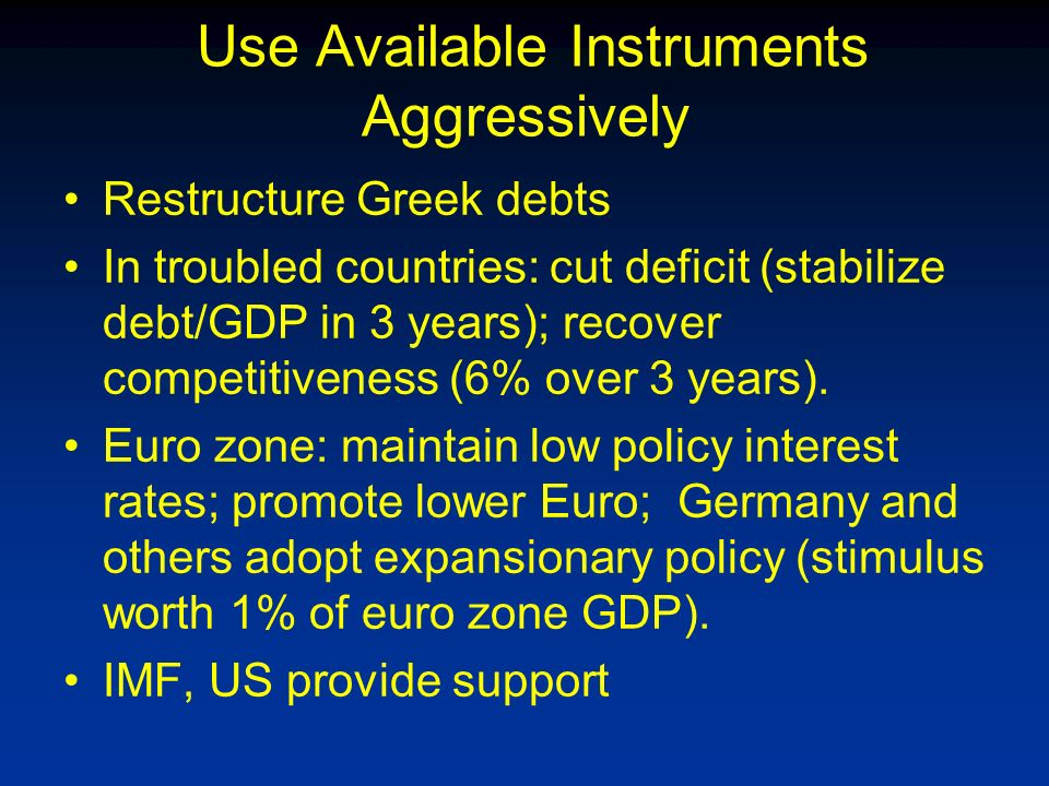Use Available Instruments Aggressively Restructure Greek debts In troubled countries: cut deficit (stabilize debt/GDP in 3 years); recover competitiveness (6% over 3 years).