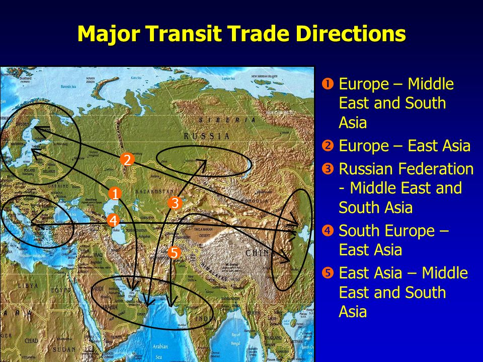 Major Transit Trade Directions Europe – Middle East and South Asia Europe – East Asia Russian Federation - Middle East and South Asia South Europe – E