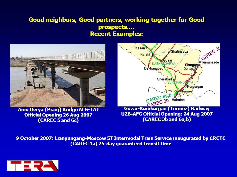 Good neighbors, Good partners, working together for Good prospects…. Recent Examples: Amu Derya (Pianj) Bridge AFG-TAJ Official Opening 26 Aug 2007 (C