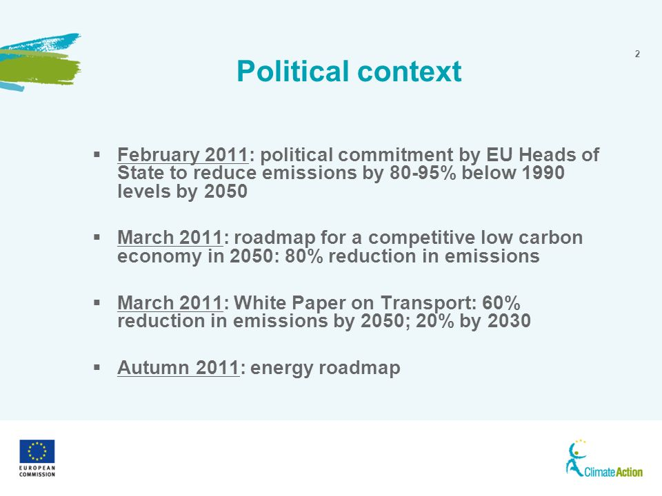2 Political context Sustainable communities February 2011: political commitment by EU Heads of State to reduce emissions by 80-95% below 1990 levels by 2050 March 2011: roadmap for a competitive low carbon economy in 2050: 80% reduction in emissions March 2011: White Paper on Transport: 60% reduction in emissions by 2050; 20% by 2030 Autumn 2011: energy roadmap