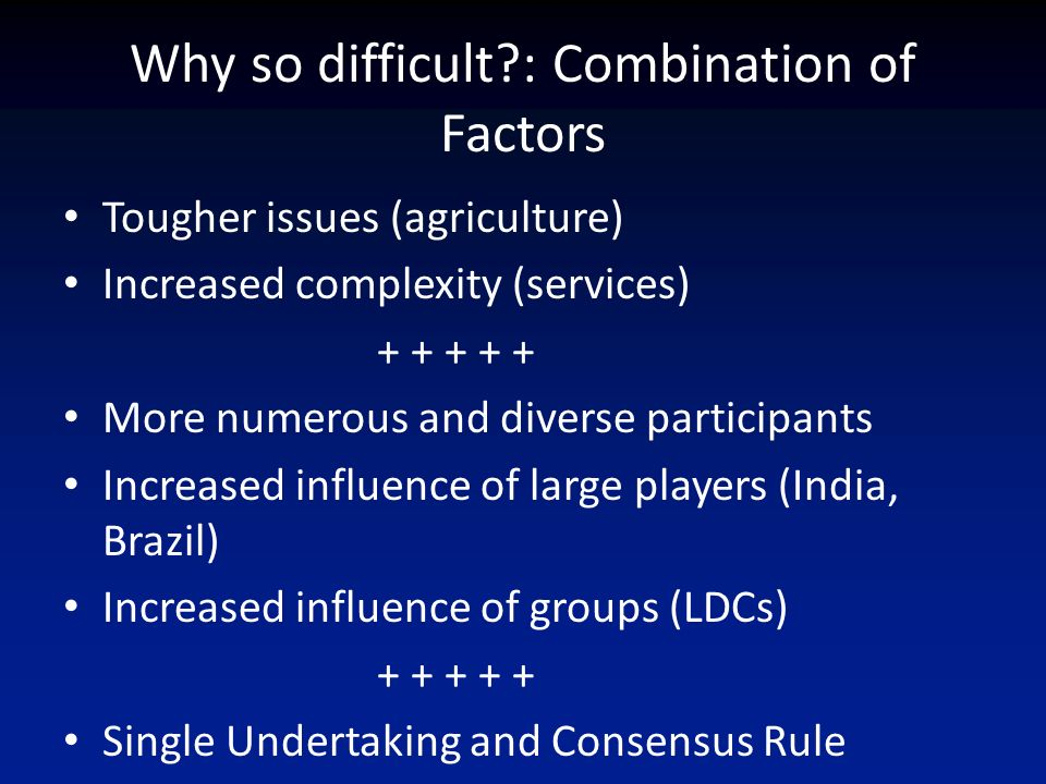 Why so difficult : Combination of Factors Tougher issues (agriculture) Increased complexity (services) More numerous and diverse participants Increased influence of large players (India, Brazil) Increased influence of groups (LDCs) Single Undertaking and Consensus Rule