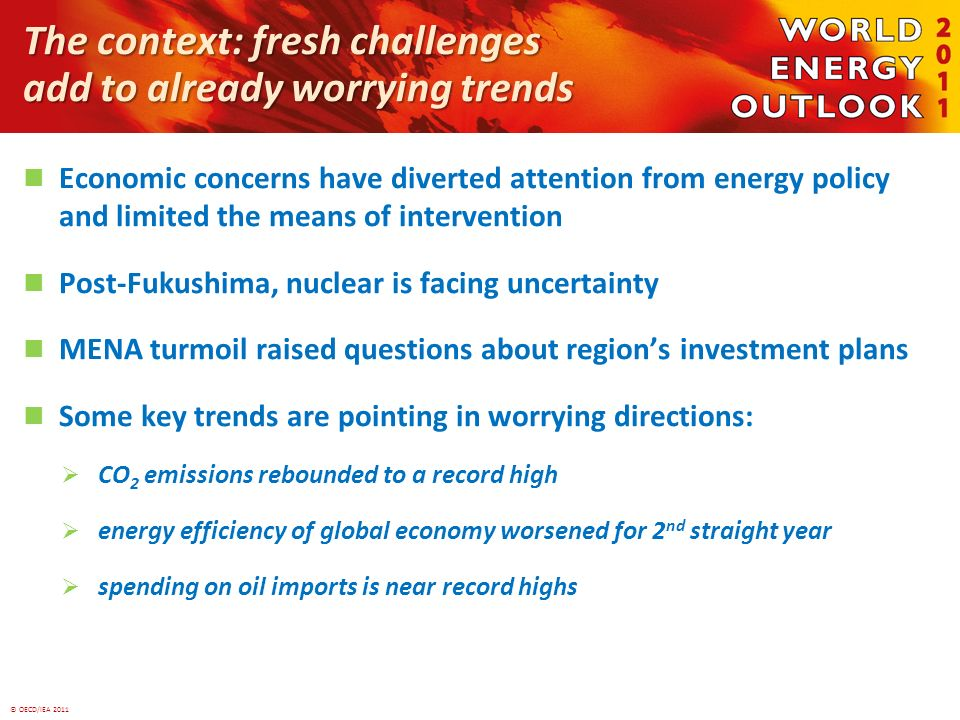 © OECD/IEA 2011 The context: fresh challenges add to already worrying trends Economic concerns have diverted attention from energy policy and limited the means of intervention Post-Fukushima, nuclear is facing uncertainty MENA turmoil raised questions about regions investment plans Some key trends are pointing in worrying directions: CO 2 emissions rebounded to a record high energy efficiency of global economy worsened for 2 nd straight year spending on oil imports is near record highs