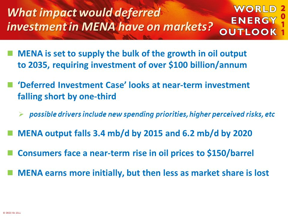 © OECD/IEA 2011 What impact would deferred investment in MENA have on markets? MENA is set to supply the bulk of the growth in oil output to 2035, req