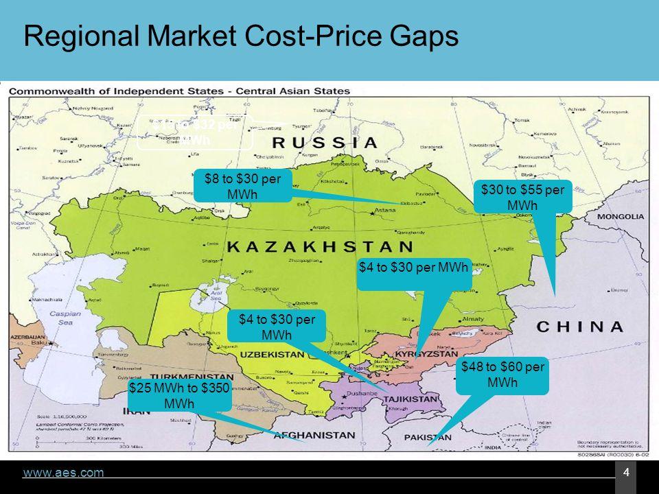 www.aes.com 4 Regional Market Cost-Price Gaps $4 to $30 per MWh $48 to $60 per MWh $8 to $30 per MWh $30 to $55 per MWh $25 MWh to $350 MWh $15 to $32 per MWh $4 to $30 per MWh