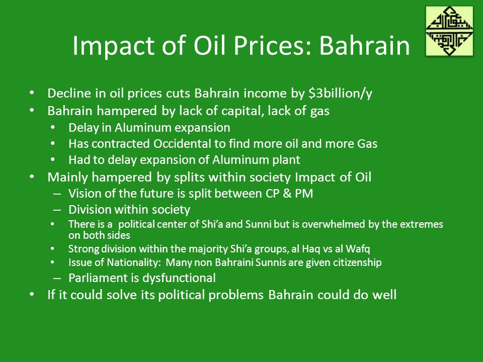 Impact of Oil Prices: Bahrain Decline in oil prices cuts Bahrain income by $3billion/y Bahrain hampered by lack of capital, lack of gas Delay in Aluminum expansion Has contracted Occidental to find more oil and more Gas Had to delay expansion of Aluminum plant Mainly hampered by splits within society Impact of Oil – Vision of the future is split between CP & PM – Division within society There is a political center of Shia and Sunni but is overwhelmed by the extremes on both sides Strong division within the majority Shia groups, al Haq vs al Wafq Issue of Nationality: Many non Bahraini Sunnis are given citizenship – Parliament is dysfunctional If it could solve its political problems Bahrain could do well
