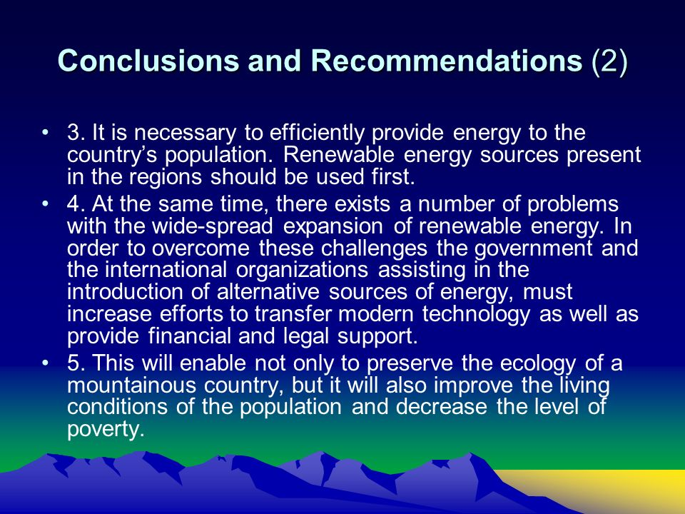 Conclusions and Recommendations (2) 3.