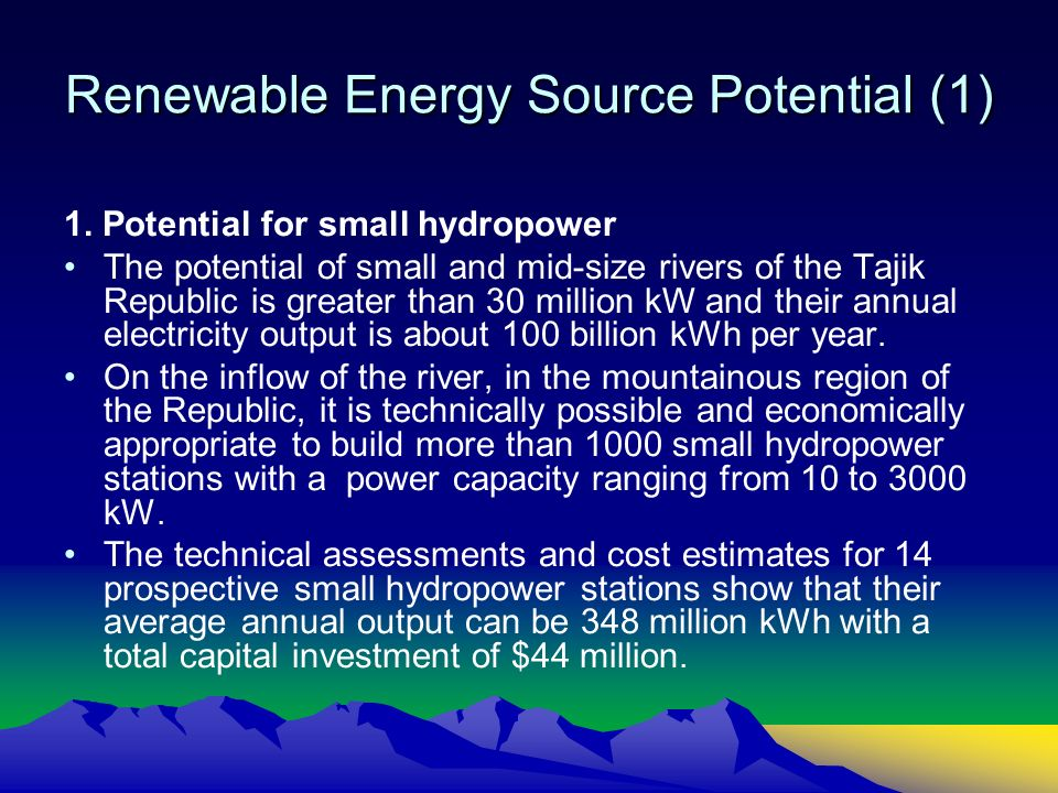 Renewable Energy Source Potential (1) 1.