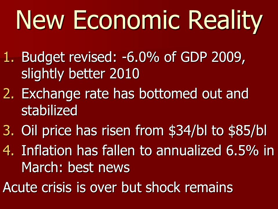 New Economic Reality 1.Budget revised: -6.0% of GDP 2009, slightly better 2010 2.Exchange rate has bottomed out and stabilized 3.Oil price has risen f