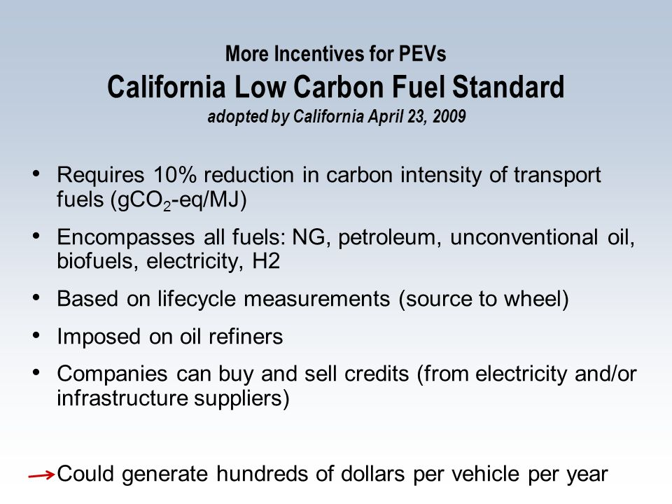 More Incentives for PEVs California Low Carbon Fuel Standard adopted by California April 23, 2009 Requires 10% reduction in carbon intensity of transport fuels (gCO 2 -eq/MJ) Encompasses all fuels: NG, petroleum, unconventional oil, biofuels, electricity, H2 Based on lifecycle measurements (source to wheel) Imposed on oil refiners Companies can buy and sell credits (from electricity and/or infrastructure suppliers) Could generate hundreds of dollars per vehicle per year